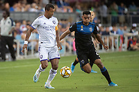 SAN JOSE,  - SEPTEMBER 1: Nani  #17 of the Orlando City SC and Marcos López #27 of the San Jose Earthquakes during a game between Orlando City SC and San Jose Earthquakes at Avaya Stadium on September 1, 2019 in San Jose, .