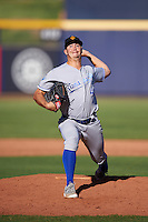 Surprise Saguaros pitcher Eric Stout (43), of the Kansas City Royals organization, during a game against the Peoria Javelinas on October 12, 2016 at Peoria Stadium in Peoria, Arizona.  The game ended in a 7-7 tie after eleven innings.  (Mike Janes/Four Seam Images)