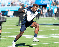 CHARLOTTE, NC - DECEMBER 15: D.K. Metcalf #14 of the Seattle Seahawks prior to the game during a game between Seattle Seahawks and Carolina Panthers at Bank of America Stadium on December 15, 2019 in Charlotte, North Carolina.