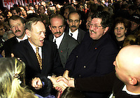 D&K :  Shawinigan, November 28, 2000<br /> It was past midnight when Liberal Party Leader  Jean Chretien who was  reelected as Canadian Prime Minster gave his victory speech in  his home town of Shawinigan (Quebec, CANADA). He is while leaving after his victory speehc .seen here shaking hand with supporters while leaving the room<br /> Photo : Pierre Roussel / Newsmakers