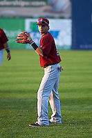 Mahoning Valley Scrappers third baseman Alexis Pantoja (6) warms up before a game against the Auburn Doubledays on September 4, 2015 at Falcon Park in Auburn, New York.  Auburn defeated Mahoning Valley 5-1.  (Mike Janes/Four Seam Images)