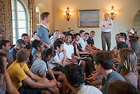 Incoming first-years participate in matriculation and meet Oxy President Jonathan Veitch during Orientation at the start of the fall semester, August 26, 2013 at Occidental College. (Photo by Marc Campos, Occidental College Photographer)