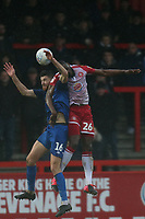 Jack Baldwin of Salford City and Diaguely Dabo of Stevenage during Stevenage vs Salford City, Sky Bet EFL League 2 Football at the Lamex Stadium on 15th February 2020