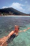 Thailand, Woman swimming off Ko Nang Yuan resort, Ko Tao, Gulf of Thailand, released, Susan Johnston,