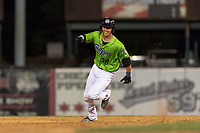 Kane County Cougars designated hitter Andy Yerzy (38) hustles towards third base during a Midwest League game against the Cedar Rapids Kernels at Northwestern Medicine Field on April 28, 2019 in Geneva, Illinois. Cedar Rapids defeated Kane County 3-2 in game two of a doubleheader. (Zachary Lucy/Four Seam Images)