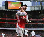 Arsenal's Santi Cazorla celebrates scoring his sides fourth goal<br /> <br /> Barclays Premier League - Arsenal vs Aston Villa - Emirates Stadium  - England - 1st February 2015 - Picture David Klein/Sportimage