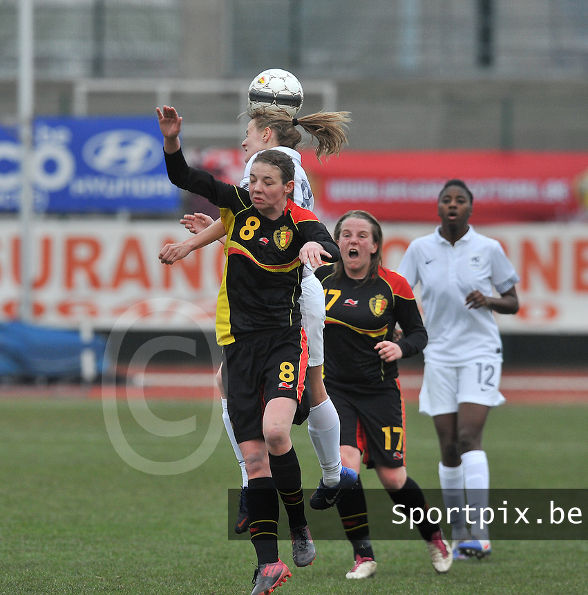 France U19 - Belgium U19 : kopduel met Nicky Van den Abbeele.foto DAVID CATRY / Nikonpro.be