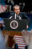 President Richard Nixon attends 1972 Republican Convention in Miami Florida - A break in at the Democratic National Committee headquarters at the Watergate complex on June 17, 1972 results in one of the biggest political scandals the US government has ever seen.  Effects of the scandal ultimately led to the resignation of  President Richard Nixon, on August 9, 1974, the first and only resignation of any U.S. President.
