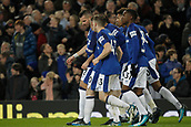 2nd December 2017, Goodison Park, Liverpool, England; EPL Premier League football, Everton versus Huddersfield Town; Everton players celebrate after Dominic Calvert-Lewin scores the second goal after 73 minutes