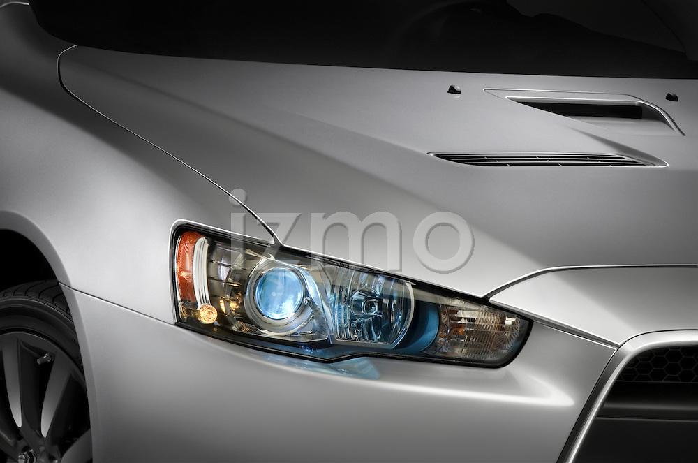 Headlight detail view on a 2009 Mitsubishi Lancer