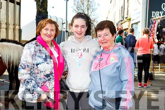Tess Fitzgerald, Emma Buckley and Eileen Mitchell enjoying the Castleisland Horse Fair on Wednesday