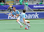 The Hague, Netherlands, June 15: Matias Paredes #10 of Argentina celebrates after scoring a field goal to give Argentina a 1-0 lead during the field hockey bronze match (Men) between Argentina and England on June 15, 2014 during the World Cup 2014 at Kyocera Stadium in The Hague, Netherlands. Final score 2-0 (0-0)  (Photo by Dirk Markgraf / www.265-images.com) *** Local caption *** Matias Paredes #10 of Argentina, Manuel Brunet #24 of Argentina