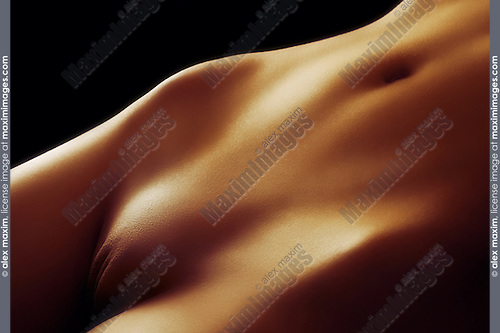 Nude woman body closeup of crotch with golden color skin