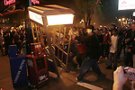 Hockey fans destroyed telephone booths and set fires after their team advanced to the Stanley Cup Finals.