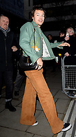 Harry Styles arrives at the BBC Radio 2 studios to perform on the Zoe Ball Breakfast Show, London. FEBRUARY 14th 2020. Credit: Matrix/MediaPunch ***FOR USA ONLY***<br /> <br /> REF: TMM 20440