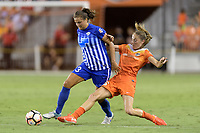 Houston, TX - Saturday July 22, 2017: Katie Stengel and Janine Beckie during a regular season National Women's Soccer League (NWSL) match between the Houston Dash and the Boston Breakers at BBVA Compass Stadium.