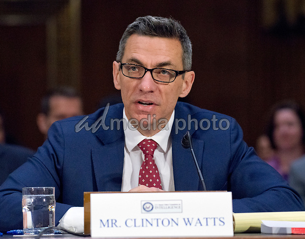 "Clinton Watts, Senior Fellow, Foreign Policy Research Institute Program on National Security testifies before the United States Senate Select Committee on Intelligence as it conducts an open hearing titled ""Disinformation: A Primer in Russian Active Measures and Influence Campaigns"" on Capitol Hill in Washington, DC on Thursday, March 30, 2017. Photo Credit: Ron Sachs/CNP/AdMedia"