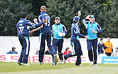 Scottish Saltires V Surrey Lions - Clydesdale Bank 40 - at Grange CC (Edinburgh) - the Saltires celebrate a wicket - Picture by Donald MacLeod  06.5.12  07702 319 738  clanmacleod@btinternet.com