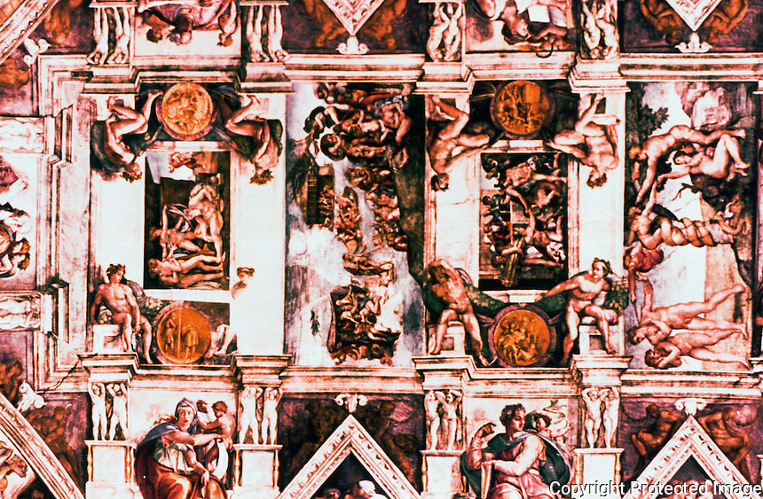 Vatican:   Sistine Chapel--The Vault (ceiling) view.  Frescoes by Michelangelo, 1508-1512.  High Renaissance period.
