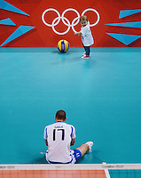 12.08.2012. London, England. Andrea GIOVI of Italy Plays with His Son After Italy defeated Bulgaria in the mens  Volleyball Bronze Medal Match London 2012 Olympic Games