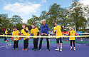Judy Murray joins kids to launch Free Tennis Lessons at Zetland Park.