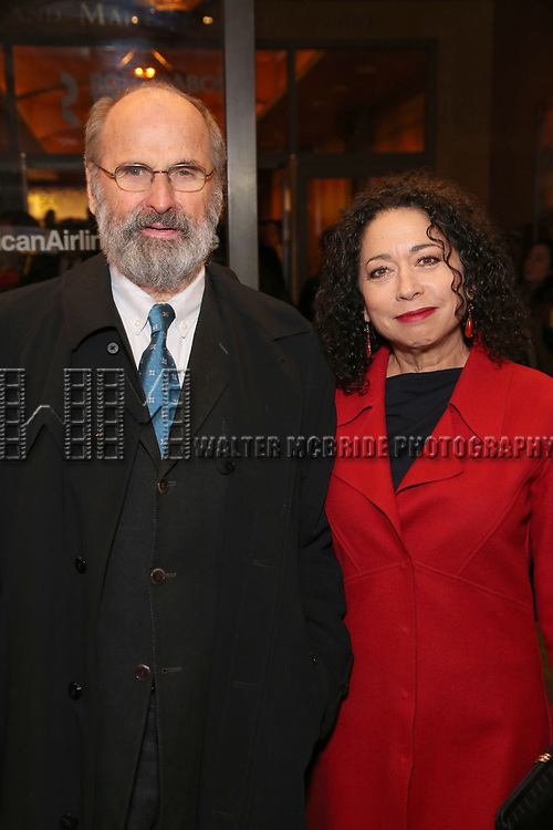 """Daniel Sullivan and Julie Fate attends the Broadway Opening Night Performance of """"John Lithgow: Stories by Heart"""" at the American Airlines Theatre on January 11, 2018 in New York City."""