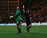 Preston's Thorsten Stuckmann looks on in shock after getting booked for bringing down Wayne Rooney for a penalty <br /> <br /> FA Cup - Preston North End vs Manchester United  - Deepdale - England - 16th February 2015 - Picture David Klein/Sportimage