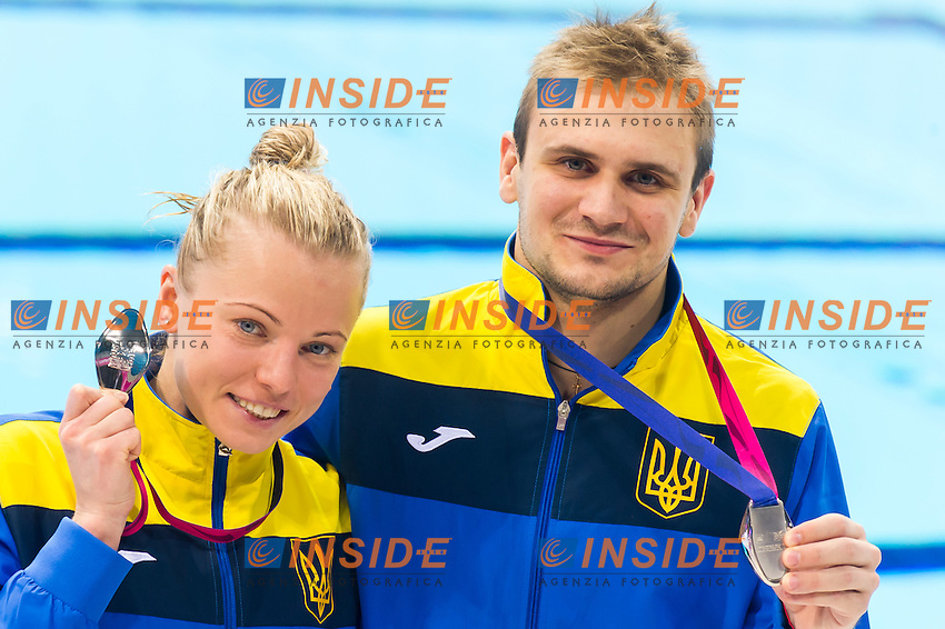 Team UKR PROKOPCHUK-GORSHKOVOZOV Silver medal<br /> London, Queen Elizabeth II Olympic Park Pool <br /> LEN 2016 European Aquatics Elite Championships <br /> Diving<br /> Team event final <br /> Day 01 09-05-2016<br /> Photo Giorgio Perottino/Deepbluemedia/Insidefoto