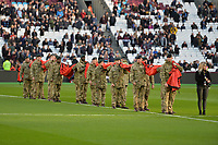 Army with poppy flag during West Ham United vs Burnley, Premier League Football at The London Stadium on 3rd November 2018