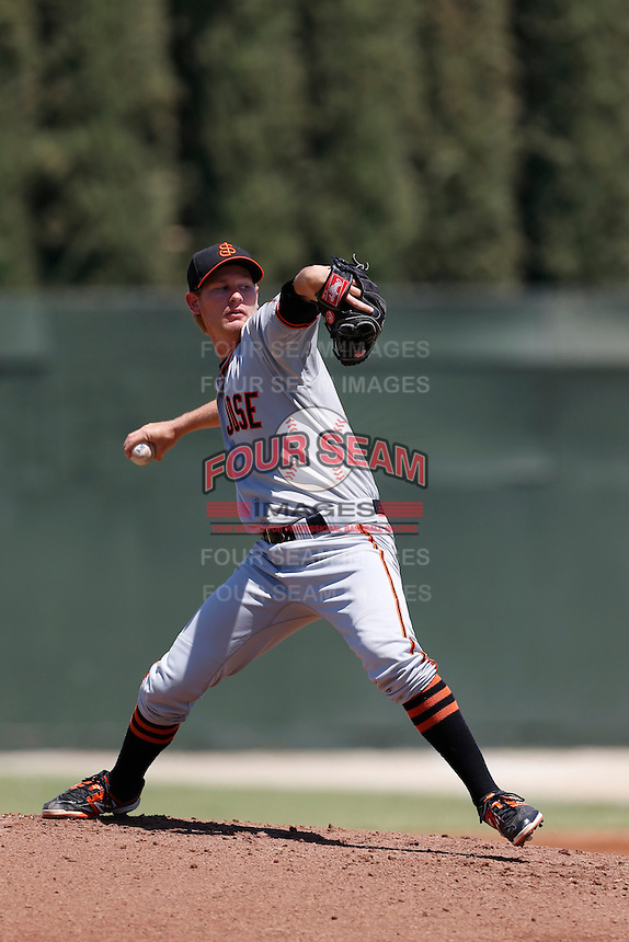 Jason Forjet #37 of the San Jose Giants pitches against the Bakersfield Blaze at Sam Lynn Ballpark on August 4, 2013 in Bakersfield, California. San Jose defeated Bakersfield, 7-4. (Larry Goren/Four Seam Images)