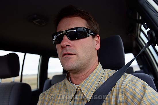 Trent Nelson driving on the Navajo Nation. 11.29.2005<br />