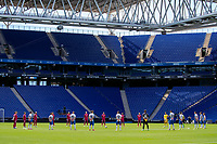 13th June 2020, Barcelona, Spain; La Liga football, RCD Espanyol versus Alaves;  Players observe one minute of silence for the COVID-19 victims before the match
