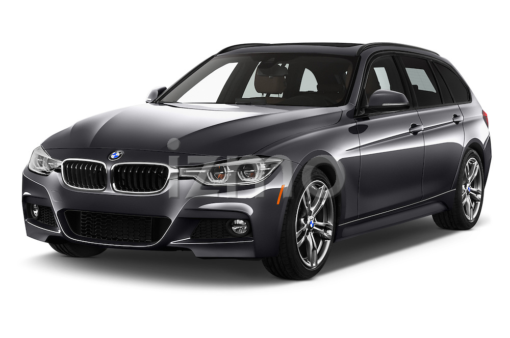 2018 BMW 3-Series 330i-Sports-Wagon 5 Door Wagon Angular Front stock photos of front three quarter view