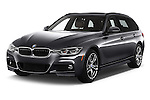 2017 BMW 3-Series 330i-Sports-Wagon 5 Door Wagon Angular Front stock photos of front three quarter view