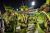 Imperatriz Leopolinense Samba School, Carnival, Rio de Janeiro, Brazil, 26th February 2017. The parade of the executive team of the Samba School, with green and yellow costumes.