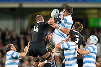 Rugby World Cup Auckland  New Zealand v Argentina Quarter Final 4 - 09/10/2011.Manuel Carizza  (Argentina) wins the line out ball.Photo Frey Fotosports International/AMN Images