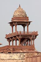 Fatehpur Sikri, Uttar Pradesh, India.  Chhatri on Highest Level of Panch Mahal, the Five-Storeyed Palace.