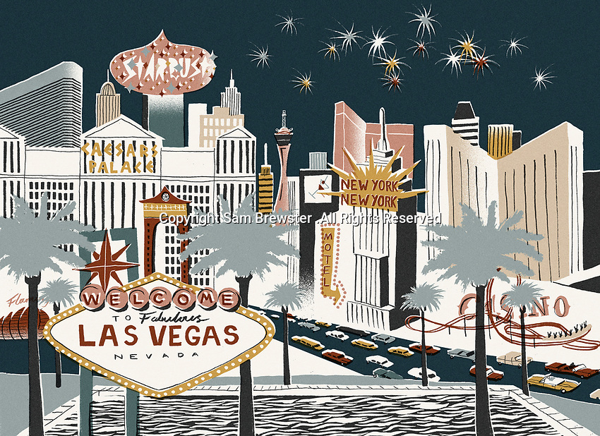 Illustration of Las Vegas street scene at night