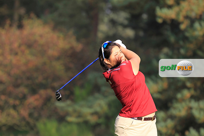 Bethany Wu (USA) on the 3rd tee during Monday's Morning Foursomes Match 2 of the 2014 JUNIOR RYDER CUP at the Blairgowrie Golf Club, Perthshire, Scotland. <br /> Picture:  Thos Caffrey / www.golffile.ie
