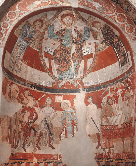 Above, Christ in a mandorla blessing St Thomas a Beckett of Canterbury, 1117-70, Archbishop of Canterbury 1162-70, and below, his martyrdom, with the accusation, assassination and entombment. Christ enthroned and the martyrdom of St Thomas a Beckett, fresco, late 12th - early 13th centuries, from the apse of the Church of Santa Maria  or Church of St Mary, churches of Sant Pere, Terrassa, Catalonia, Spain. The Church of Santa Maria dates from the 6th century, with an 11th century nave and Romanesque frescoes. The Sant Pere complex consists of 2 churches (Sant Pere and Santa Maria) and a baptistery (Sant Miquel, following the Byzantine model. They were built close to the site of old Egara to be the seat of the Egara diocese, founded c. 450 AD. The buildings were completed in the 11th and 12th centuries in Romanesque style, on the site of pre-Romanesque buildings from the Visigothic period. Picture by Manuel Cohen