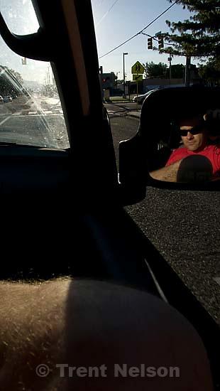 Trent Nelson in mirror. Salt Lake City - around; 8.24.2007