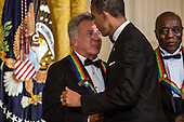 United States President Barack Obama shakes hands with actor Dustin Hoffman after delivering remarks at the Kennedy Center Honors reception at the White House on December 2, 2012 in Washington, DC. The Kennedy Center Honors recognized seven individuals - Buddy Guy, Dustin Hoffman, David Letterman, Natalia Makarova, John Paul Jones, Jimmy Page, and Robert Plant - for their lifetime contributions to American culture through the performing arts. .Credit: Brendan Hoffman / Pool via CNP