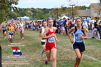 Jill Whitman and Maddy Brown lead Lafayette's Sarah Nicholson, three minutes into Varsity Girls 5k, 2013 Parkway West Cross Country Invitational.
