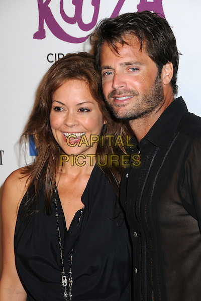 BROOKE BURKE & DAVID CHARVET.Cirque du Soleil's KOOZA Opening Night Gala held at the Santa Monica Pier, Santa Monica, California, USA..October 16th, 2009.half length black jacket stubble facial hair couple .CAP/ADM/BP.©Byron Purvis/AdMedia/Capital Pictures.