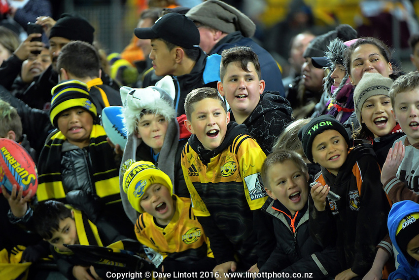 Fans wait for autographs after the Super Rugby semifinal match between the Hurricanes and Chiefs at Westpac Stadium, Wellington, New Zealand on Saturday, 30 July 2016. Photo: Dave Lintott / lintottphoto.co.nz