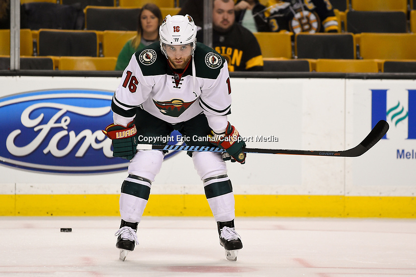 Thursday, November 19, 2015: Minnesota Wild left wing Jason Zucker (16) warms up prior to the start of the National Hockey League game between the Minnesota Wild and the Boston Bruins held at TD Garden, in Boston, Massachusetts. The Bruins defeat the Wild 4-2. Eric Canha/CSM