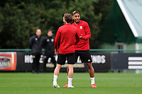 Joe Allen (left) and Ashely Williams (right) of Wales talk during the Wales Training Session at The Vale Resort in Cardiff, Wales, UK. Monday 8 October 2018