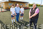 Kerry School Boys/Girls Soccer launching their Golf Classic in Mounthawk Park on Saturday.<br /> Front: Padraig Hartnett (Chairman / PRO).<br /> Back L to r: Emmett Rigter, Adrian King and Tom Whittleton.