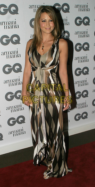 RACHEL STEVENS.The 8th Anual GQ Men of The Year Awards,.The Royal Opera House,.London, 6th September 2005.full length green black white pattern amber bead necklace dress gold pusre handbag.www.capitalpictures.com.sales@capitalpictures.com.© Capital Pictures.