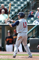 Toledo Mudhens outfielder Ben Guez #13 at bat during a game against the Rochester Red Wings at Frontier Field on June 2, 2011 in Rochester, New York.  Rochester defeated Toledo 8-0.  Photo By Mike Janes/Four Seam Images
